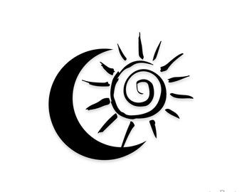 Sun and Moon Decal - Vinyl Decal - Laptop Decal - Macbook Decal - Girly Decal - Laptop Sticker - Car Decal - Vinyl Stickers - Window Decal