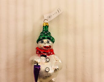 """Snowman Christmas Ornament Vintage Christopher Radko Made In Poland """"Frosty Weather"""" Hand Blown Tree Ornament"""