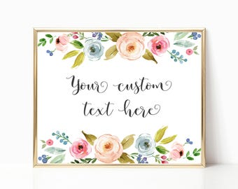 Custom Text Printable Art. Digital Printable Custom Quote or Text Design.