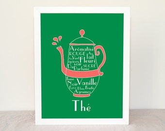 French TEA Home Decor 8x10 custom colors art print French Beverages Drinks Typographic print Green