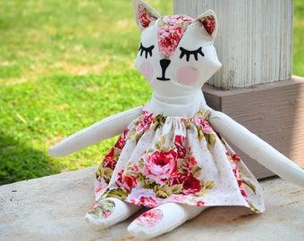 Stuffed Animal - Stuffed Cat - Cat Toy - Stuffed Doll - Stuffed Kitty - Vintage Style Stuffed Animal- Toy Cat - Plush Cat - Plush Toy