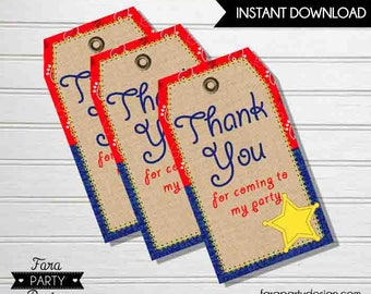 Cowboy Birthday Party PRINTABLE Favor Tags by Fara Party Design | Western Theme Birthday | Sheriff Birthday