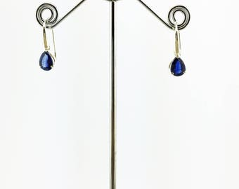 Blue Kyanite Teardrop Earrings 925 Sterling Silver Dark Blue 2.66 Grams