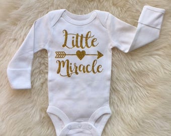Little Miracle Onesie,coming come outfit,gold glitter,going home outfit, newborn girl, girl onesie,boho onesie, mountain onesie, shower gift
