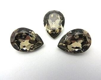 1 Greige Swarovski Crystal Stone Pear 4320  18mm x 13mm