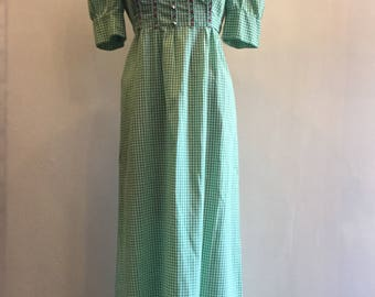 Vintage 1970's Gingham Maxi Dress Green and White