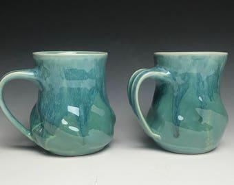 Teal Swirly Mug - Teal Mug - Teal Cup - Coffee Cup - Coffee Mug - Blue Cup - Green Cup - Green Mug - Swirly Mug - Tea Mug