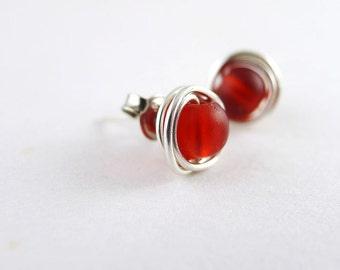 Sterling silver stud earrings sea glass earrings red sea glass jewelry handmade earrings bridesmaids jewelry seaglass jewelry wire wrapped