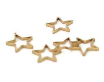 5 little stars in gold-plated brass 10mm