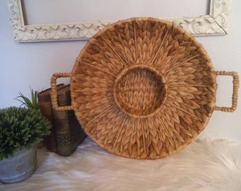 Woven Grass 2 Handled Basket / tray ~ Vintage Jungalow Centerpiece ~ Serving tray ~ wall basket