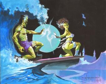 FRANKENSTEIN MONSTER SURFERS Spooky Haunted Halloween Ocean Print Mike Von Hoffman