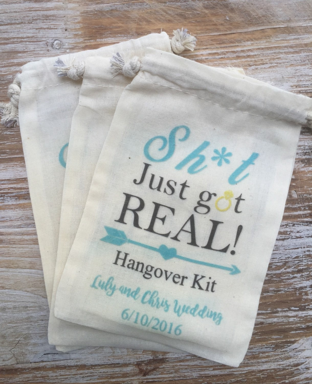 10 Bachelorette party favor bags, Shit just got real, funny ...
