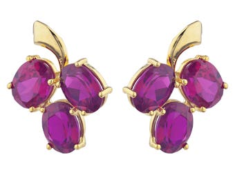 14Kt Yellow Gold Plated Ruby Oval Shape Design Stud Earrings