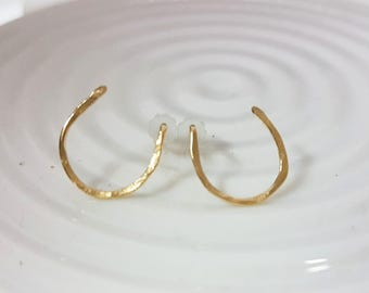Horseshoe earrings, Gold post earrings, Good luck jewelry, Equestrian jewelry, Small stud earrings for women