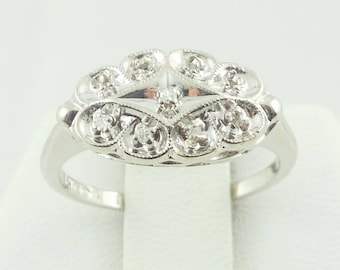 Vintage 1940's 14K White Gold and Diamond Engagement Ring  FREE SHIPPING! #WHT40S-GR3