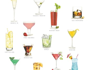 Milieu du siècle Cocktails impression Illustration à l'aquarelle