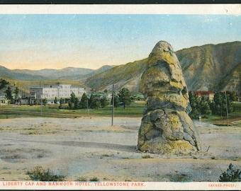 Yellowstone National Park Postcard/Liberty Cap & Mammoth Hotel Vintage Unused