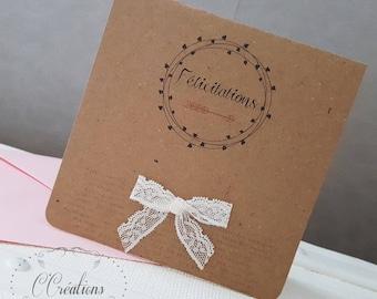 Carte de félicitations mariage ou naissance { Bohème } en kraft et dentelle