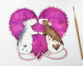 Rat painting - whiskery kisses - 12 x 12 inches original watercolour and ink