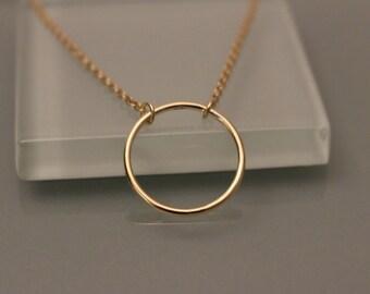 14k Yellow Gold Circle Necklace, 14k Circle Necklace, 14k eternity necklace, 14k eternity necklace, 14k circle pendant, 14k layer necklace