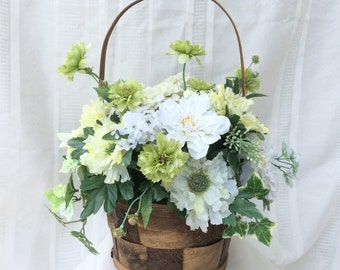 Floral Arrangement, Artificial Flower Arrangement, Flower Arrangement, Basket, Flowers, White Flowers, Green Flowers, Home Decor, Ivy
