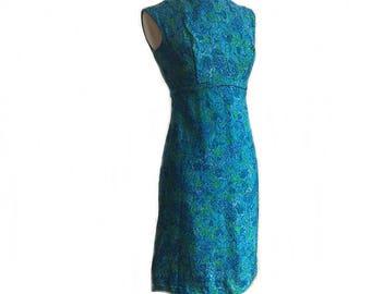 Vintage 1960's aqua blue floral shift dress/ Monet's garden party dress/ empire waist abstract print dress