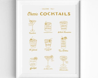 Gold and White Classic Cocktails Guide, Drinks Recipes, Mad Men Era, Mid Century Modern, Illustration Art Print, Vintage Style, Alcohol Art
