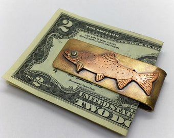 Rainbow trout hand made  money clip fly fishing gift