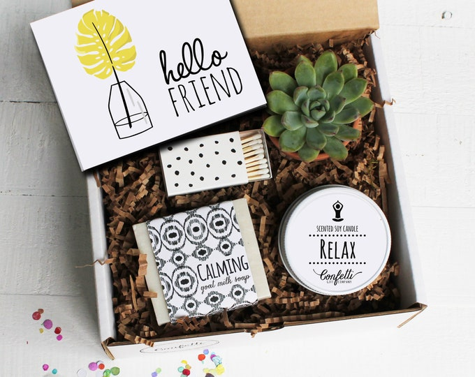 Hello Friend Gift Box - Spa Gift Set | Friend Gift | Best Friend Gift | Coworker gift | Thinking of you gift | Gift for friend | Candle Gift