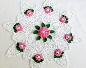 "Rose Design Round Doily, Spring Floral Doily, White Pink Floral Doily, Pineapple Design, 15"" Round Doily, Easter Tabletop Decor"