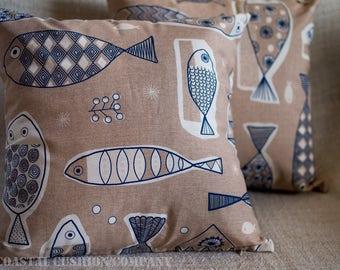 "Retro Nautical Blue Sardine Fish Design Cushion Cover. 17"" x 17"" Square, made with cotton blend fabric."