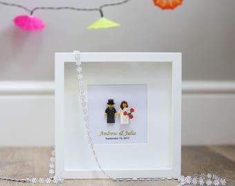 Lego® wedding gift frame. Personalised.