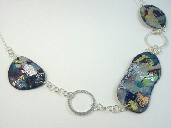 SJC10201 - Handmade statement contemporary Polymer Clay necklace with silver plated rings and chain
