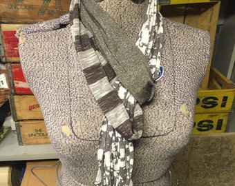 Plain Jersey Scarf - Taupe/Cream/Stripe/Shimmer
