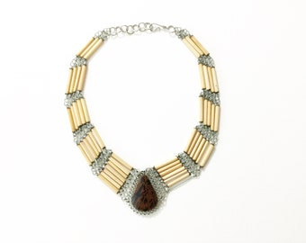 Vintage jewelry, boho jewelry, vintage chocker, vintage necklace, hippie jewelry, ethnic jewelry, stone necklace
