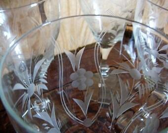 Vintage Ambassador Stemware Water Goblet Glasses Sears Wine Glasses Stemware