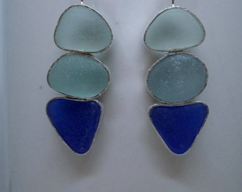 "Sea Glass Earrings - ""Colors of the Sea"" Sea Glass and Sterling Silver Earrings"