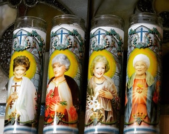 Set of 4 Golden Girls Celebrity Prayer Candles - Blanche Rose Dorothy and Sophia