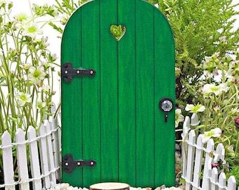 Fairy Door COMES with TINY KEY, green miniature fairy door, st. patricks day door, leprechaun door, shamrock green fairy door, st patrick's