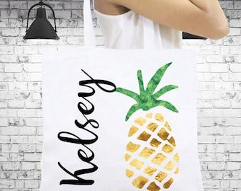 Gold Pineapple Tote Bag Monogrammed Personalized Tote Bag Bridesmaid Gift Monogrammed Gift, Personalized Beach Totes Personalized Book Bag