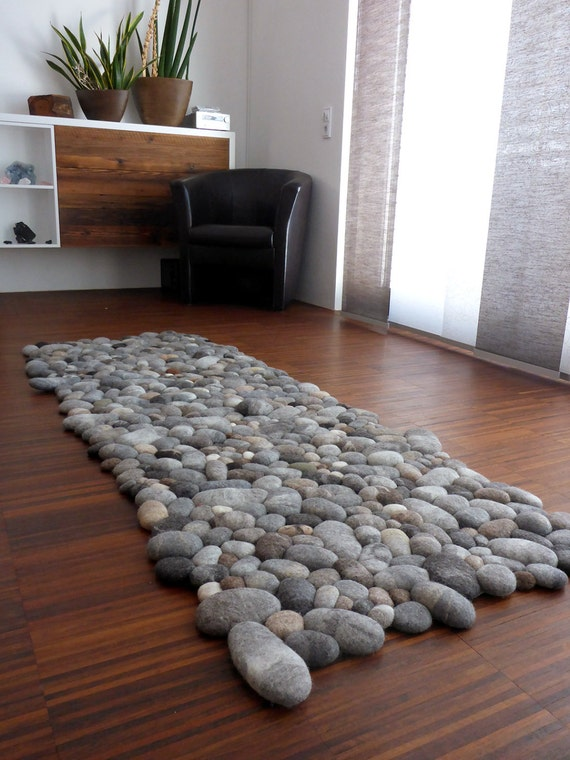 Felt carpet supersoft pebbles felt stone carpet wool from for Interior decoration using pebbles