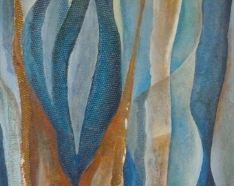 Title: Leaves from the sea 1. Abstract, acrylic painting. Original painting, handmade. Blue and ochre, brown. Warm colours.