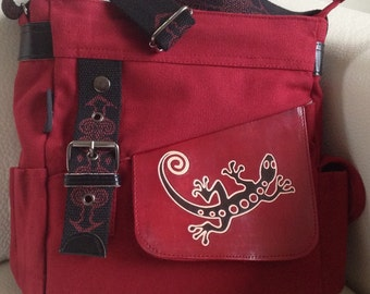Artsy Unique Light Burgundy Red Messenger Bag Cross Body Canvas with Genuine Burgundy Red Leather Flap with Brown Lizard Motif