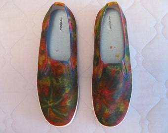 Hand Painted Abstract Hippie Style Women's, Men's, Boys, & Girl's Customized Canvas Slip On Shoes Sold!