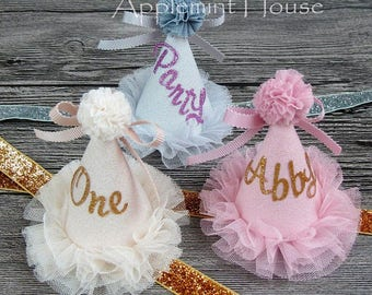 first birthday hat,Birthday Party Hat ,Birthday Girl Crown,Baby Party Crown,girl birthday hat ,Personalized hat,First Birthday Lettering Hat
