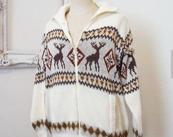 Vintage Winter White Cardigan Nordic Reindeer Pattern Medium or Large