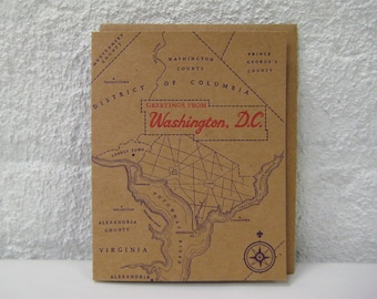 Greetings from Washington DC - Letterpress Greeting Card with Envelope - DC - Capitol Hill - Georgetown - Logan Circle - Woodley Park