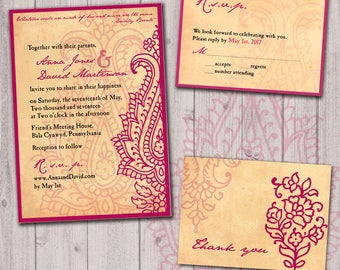 Paisley wedding invitation set with reply card, burgundy wedding, Indian Mehndi design, SAMPLE