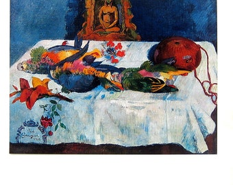 Paul Gauguin - Still Life with Parrots - 1977 Vintage Book Page - Tipped In Plate - Masterpiece Painting - 12 x 10