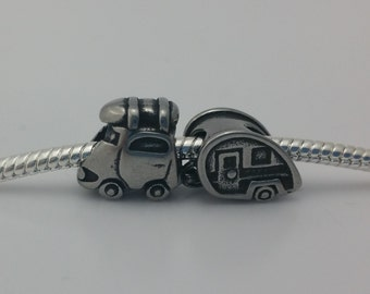 2 Bead Set - RV Trailer Car Stainless Steel Silver European Bead Charm Limited Edition E1511